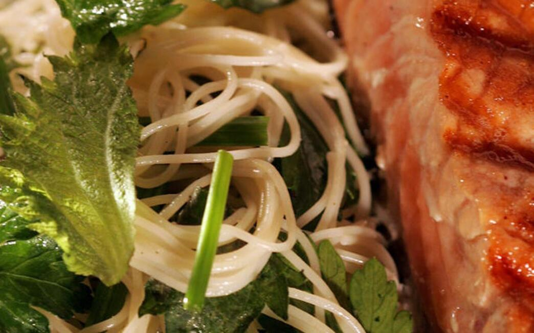Angel hair pasta with fresh shiso-herb mix