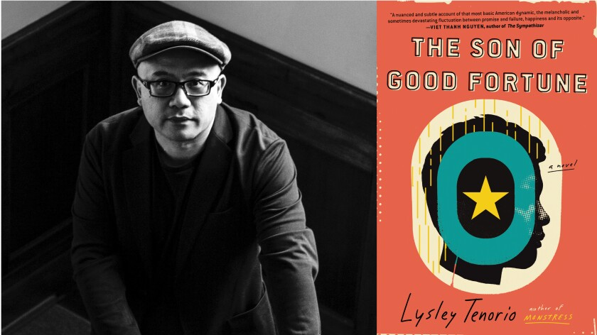 """Author Lysley Tenorio and the cover of his new book, """"The Son of Good Fortune."""""""