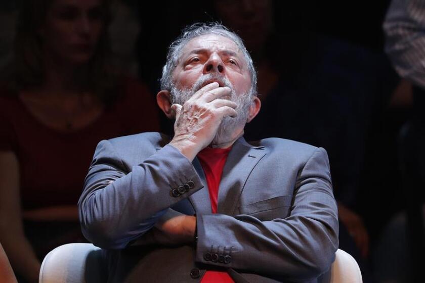 Brazilian ex-President Luiz Inacio Lula da Silva during a political gathering in Rio de Janeiro on April 2, 2018. EPA-EFE/Antonio Lacerda/FILE