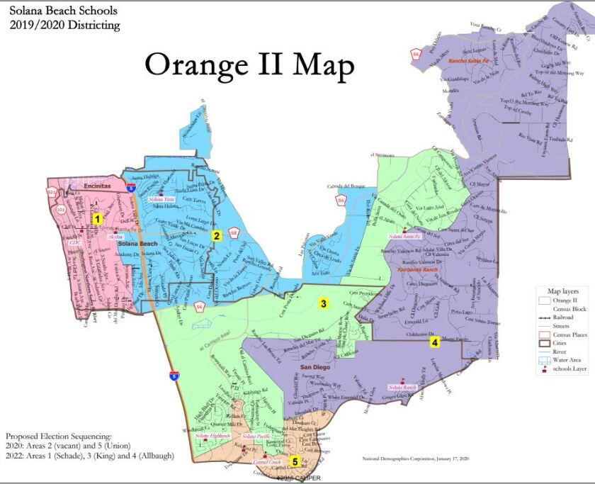 One proposed map for the new Solana Beach School District's by-trustee voting areas.