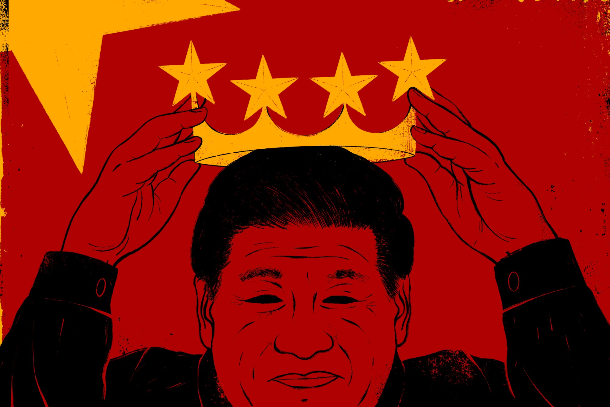 An illustration of Xi Jinping putting on a crown.