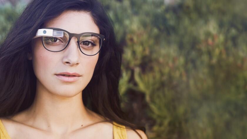 A model displays Google Glass.
