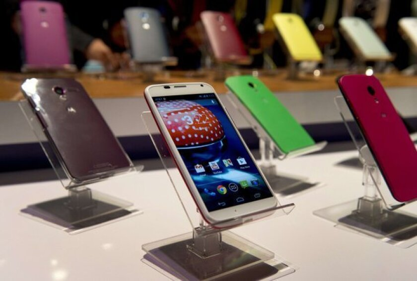 Motorola's Moto X smartphone at its unveiling at a news conference in New York.