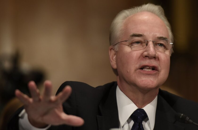 Rep. Tom Price, President Trump's nominee to be Health and Human Services secretary, testifies last week.
