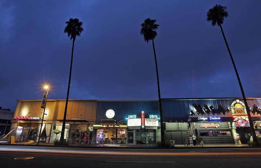 Trendy eateries and shops line Lankershim Boulevard in the NoHo Arts District of North Hollywood. The neighborhood's revival has been underwritten in large part by redevelopment funds.