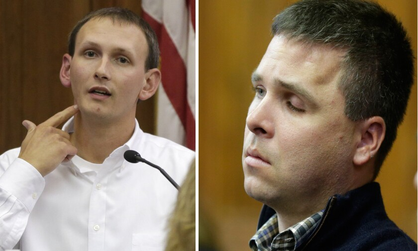 Milwaukee police Officer Bryan Norberg, left, and former Officer Graham Kunisch, right, testify in court Oct. 5.