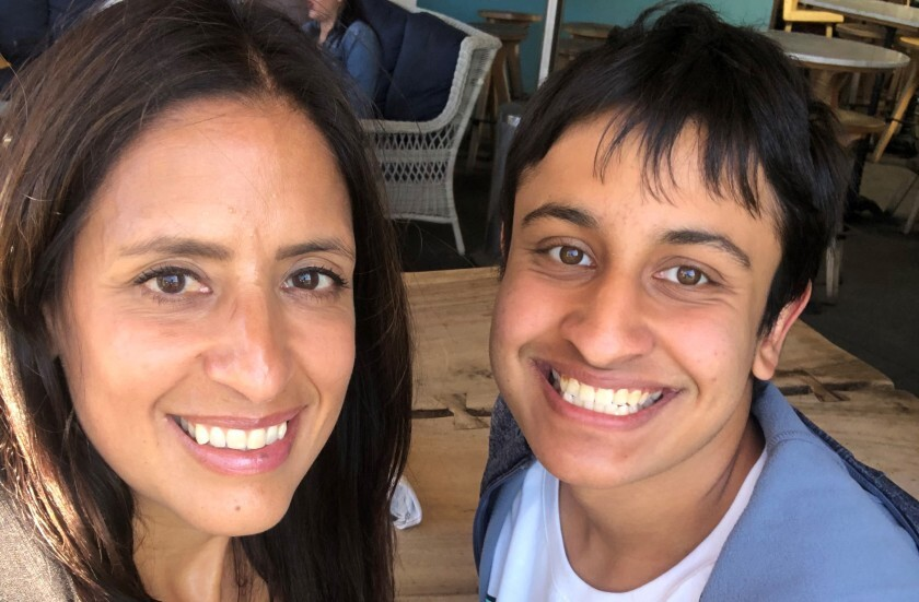Carmel Valley resident Maanav Kooner, 17, smiles with his mother, Dr. Banita Sehgal, in this photo from January 2019. Maanav and his father, Dr. Rajnish Kooner, died in a solo-car crash in Carmel Valley on April 10.