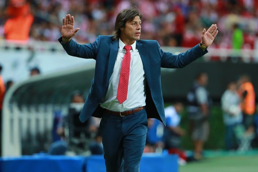Matias Almeyda, Head Coach of Chivas gestures during the second leg match of the final between Chivas and Toronto FC as part of CONCACAF Champions League 2018 at Akron Stadium on April 25, 2018 in Zapopan, Mexico.