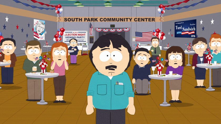 "The people of ""South Park"" confront an unexpected choice for president in ""Oh Jeez,"" a post-election episode of the Comedy Central series."