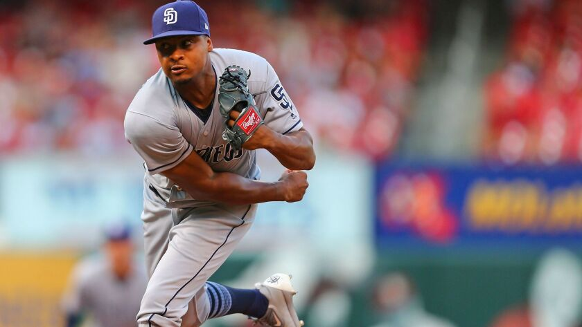 The Padres' Luis Perdomo delivers a pitch against the St. Louis Cardinals in the first inning at Busch Stadium on August 24, 2017 in St. Louis, Missouri.