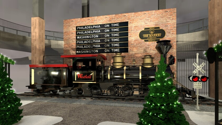 A rendering of the festive streetscape at Westfield Century City.