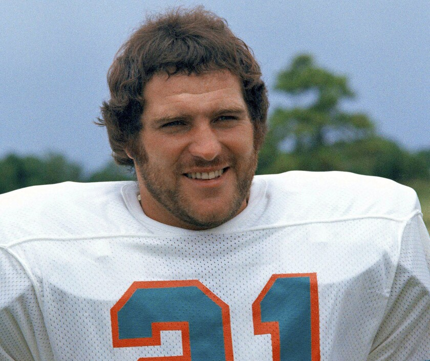 Former Miami Dolphins running back Jim Kiick in 1973