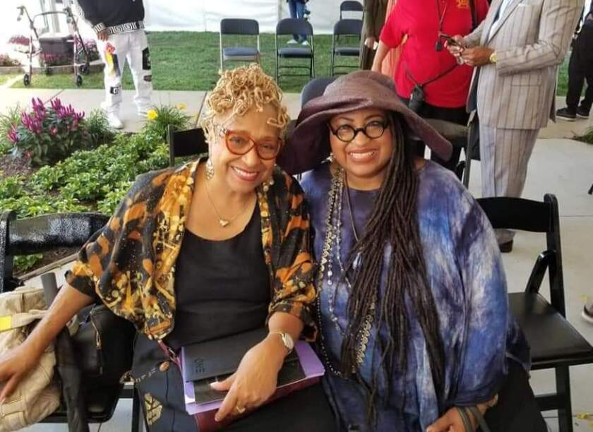 Marsha Music, right, with fellow writer and radio show host Brenda Perryman before Perryman fell ill and died from COVID-19 in early April. Music knows more than 30 people who've died in the coronavirus outbreak in her hometown of Detroit.