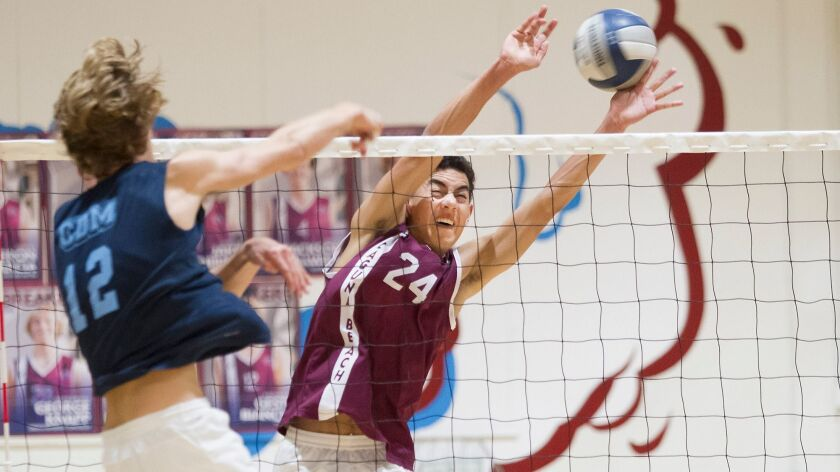 Laguna's Josh McManus, 24, blocks the kill attempt of CDM's Clay Dickinson for a point in volleyball game action on Wednesday.