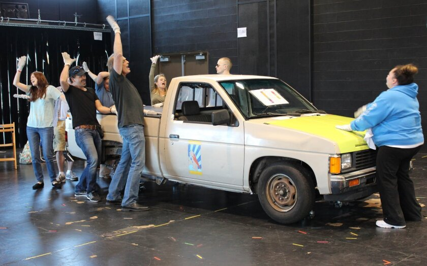 The cast rehearses La Jolla Playhouse's world-premiere, commissioned musical, 'Hands on A Hardbody,' with book by Doug Wright, direction by Neil Pepe. Dana Holliday