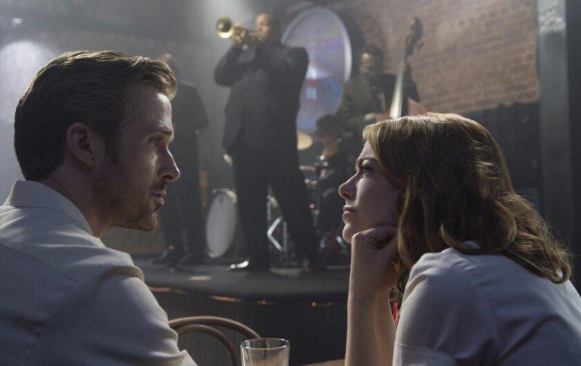 "Ryan Gosling as Sebastian and Emma Stone as Mia in ""La La Land."""