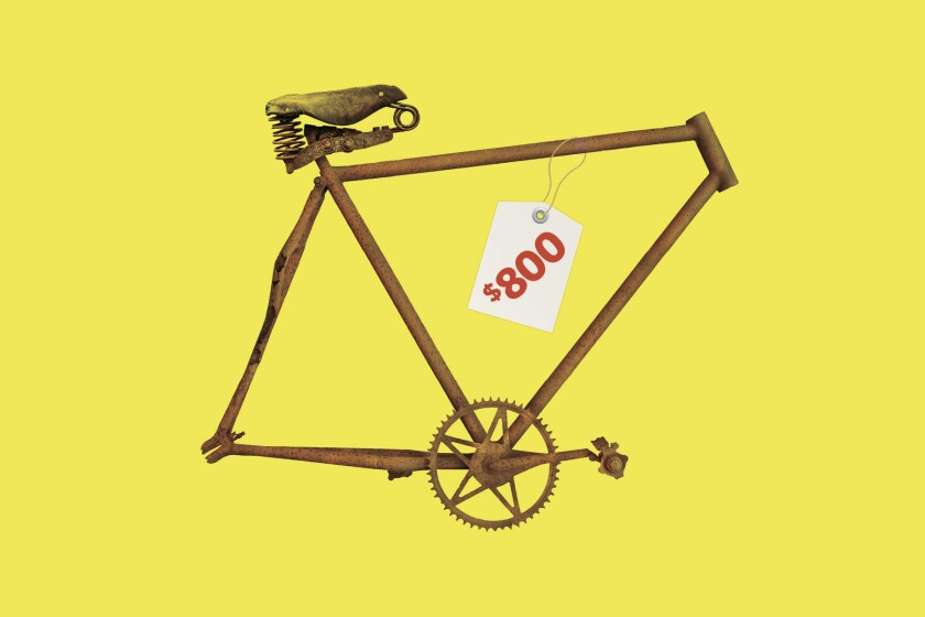 Illustration of a bike frame, with an $800 price tag on it.