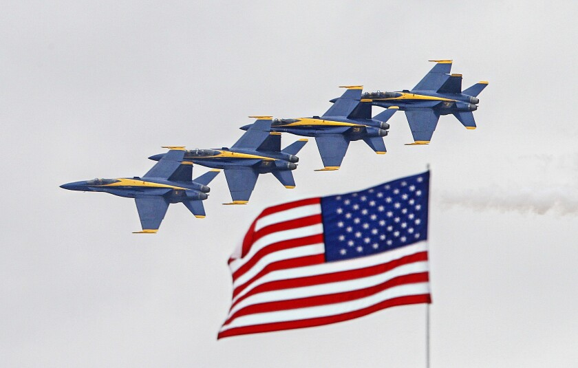 Members of the Blue Angels flight demonstration team make a pass during preview day for the MCAS Miramar Airshow on September 26, 2019 in Ssn Diego, California.