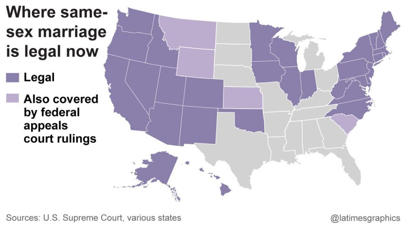 The state of same-sex marriage as of Friday