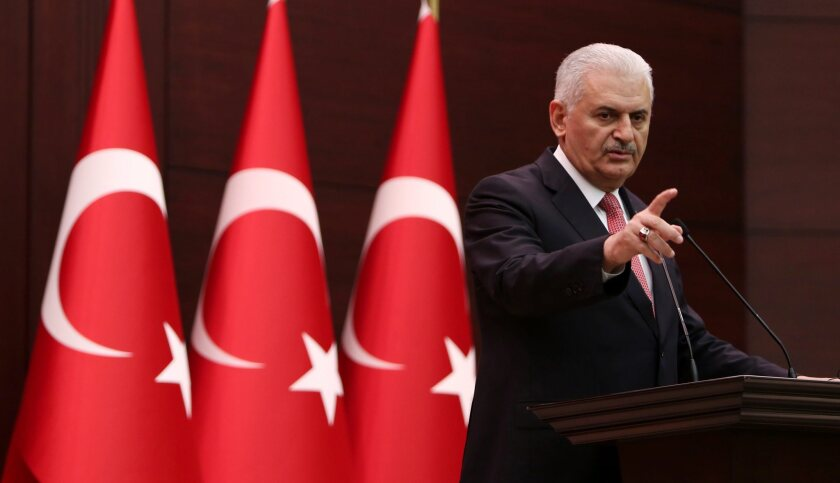 Turkish Prime Minister Binali Yildirim at a press conference in Ankara, Turkey, on June 27, 2016.