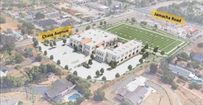 The proposed campus of Liberty Charter High in Rancho San Diego.