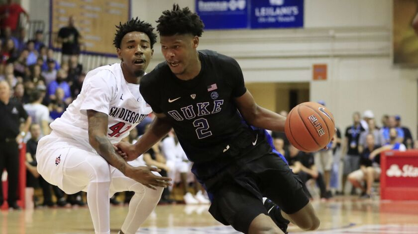 Duke forward Cam Reddish (2) gets past San Diego State guard Jeremy Hemsley (42) during the second h
