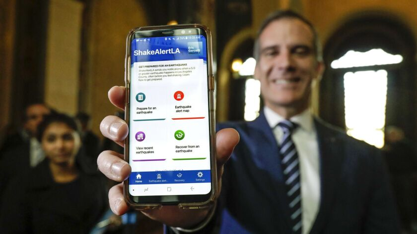 Los Angeles Mayor Eric Garcetti at the launch announcement for ShakeAlertLA in January.