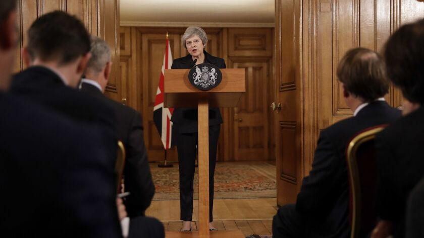 Britain's Prime Minister Theresa May speaks during a press conference inside 10 Downing Street in Lo