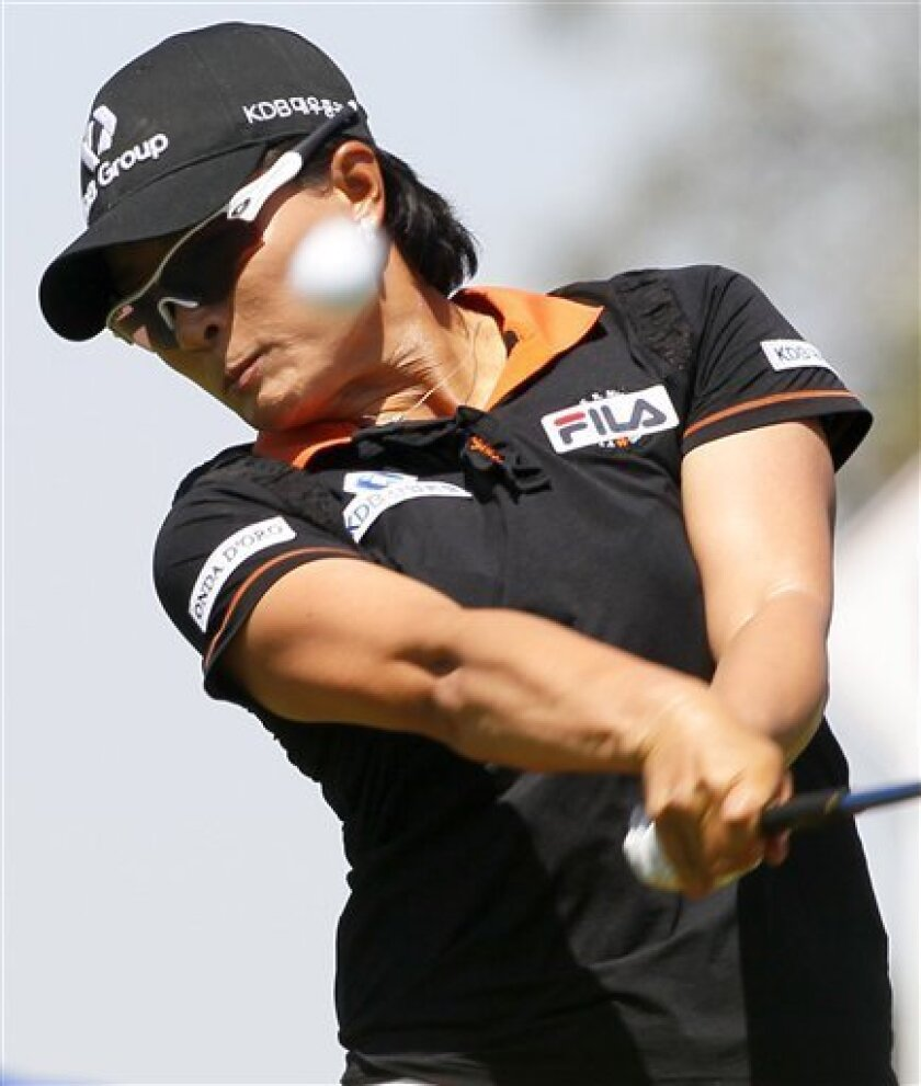 Si Ri Pak, of South Korea, hits from the second tee during the third round of the LPGA Kraft Nabisco Championship golf tournament, Saturday, March 31, 2012, in Rancho Mirage, Calif. (AP Photo/Matt York)
