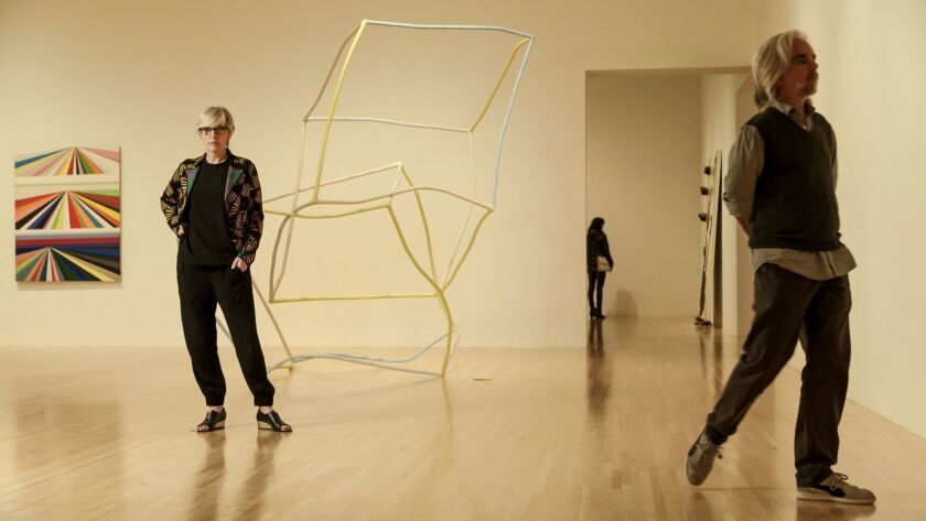 MOCA chief curator Helen Molesworth stands next to a sculpture by Liz Larner in 2016.