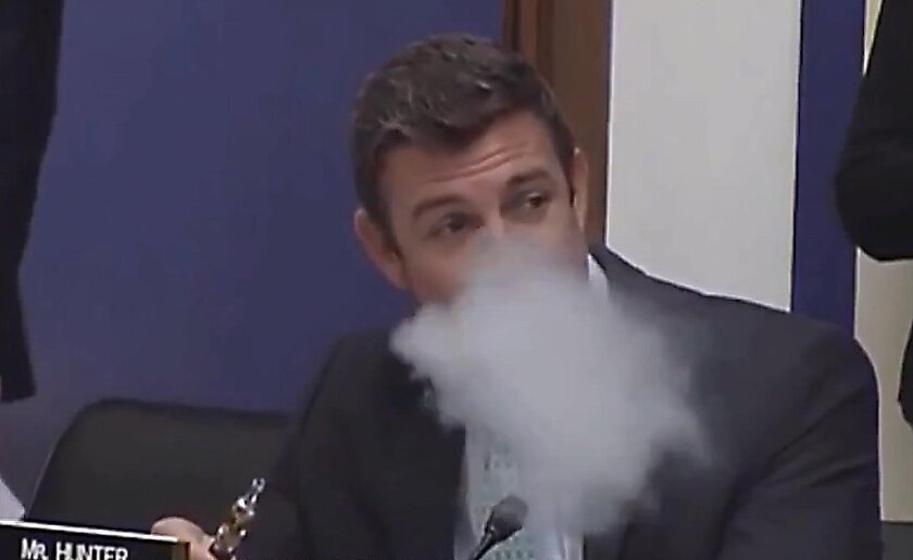 Rep. Duncan D. Hunter, (R- Alpine), vaped during a congressional hearing about whether e-cigarettes should be banned from airplanes.