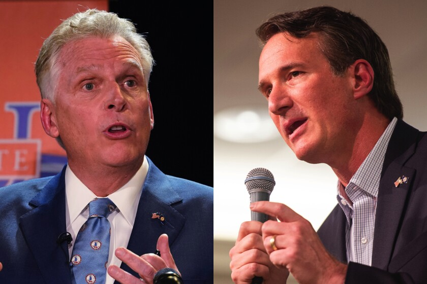 Side-by-side photos of Terry McAuliffe, left, and Glenn Youngkin