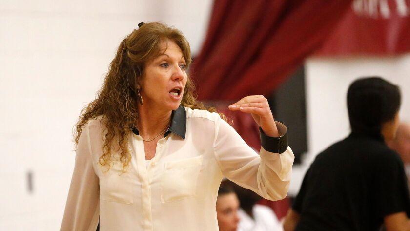 Jan. 29, 2014_San Diego, California_USA_| LJCD's head coach Terri Bamford talks to her team as the