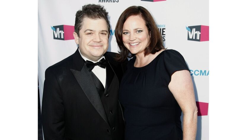 Patton Oswalt, left, and his late wife, Michelle McNamara.