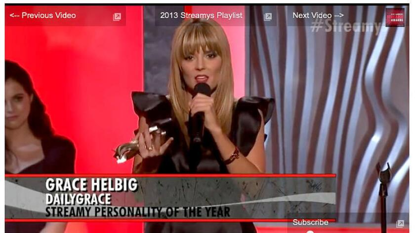 Grace Helbig, Streamy's Personality of the Year, gives her 2014 acceptance speech.