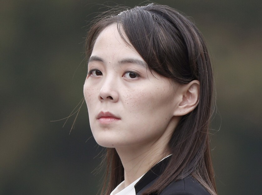 FILE - In this March 2, 2019, file photo, Kim Yo Jong, sister of North Korea's leader Kim Jong Un, attends a wreath-laying ceremony at Ho Chi Minh Mausoleum in Hanoi, Vietnam. The influential sister lambasted South Korean Foreign Minister Kang Kyung-wha for questioning the North's claim to be coronavirus free, warning Wednesday, Dec. 9, 2020, of potential consequences for the comments. (Jorge Silva/Pool Photo via AP, File)