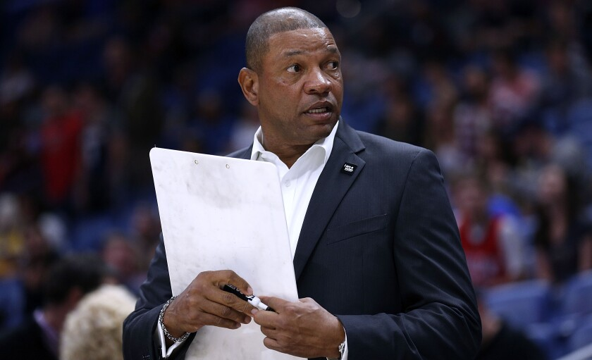 Clippers coach Doc Rivers looks on during a game against the Pelicans in 2018.
