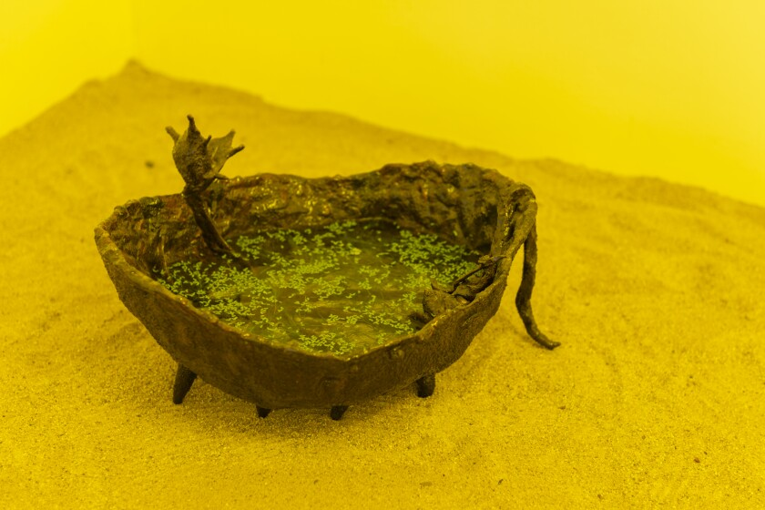 """""""Instar"""" by ASMA, 2019. Foami, resin, volcanic sand, cement, water and aquatic moss, 11 inches by 13 inches by 6.5 inches"""