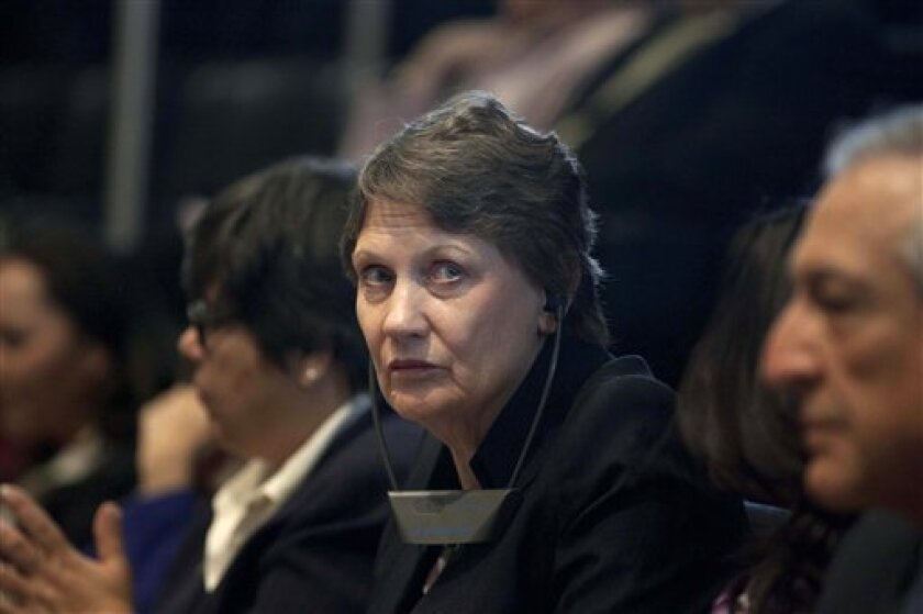 United Nations Development Program Administrator Helen Clark, center, waits to be introduced at the Chamber of Senators in Mexico City, Thursday, March 14, 2013. The U.N. says the proportion of the world's middle-class living in developing nations more than doubled between 1990 and 2010 and is expe
