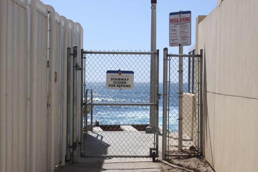 The stair access to Horseshoe Beach is fenced off for repair, but no one knows when the repair will take place.