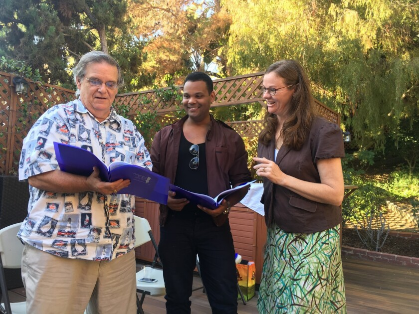Actors Fred Harlow and Brandon Kelley with Playwrights Project Executive Director Cecelia Kouma.