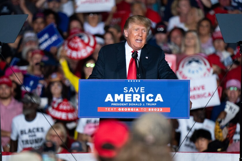 Former U.S. President Donald Trump speaks at a rally on September 25, 2021 in Perry, Georgia.