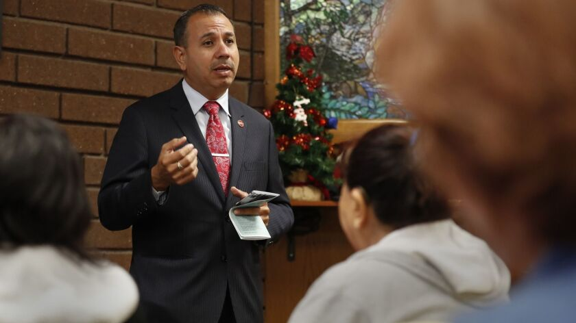 Tony Mendoza speaks during an event in Whittier, Calif. on Nov. 29, 2017.