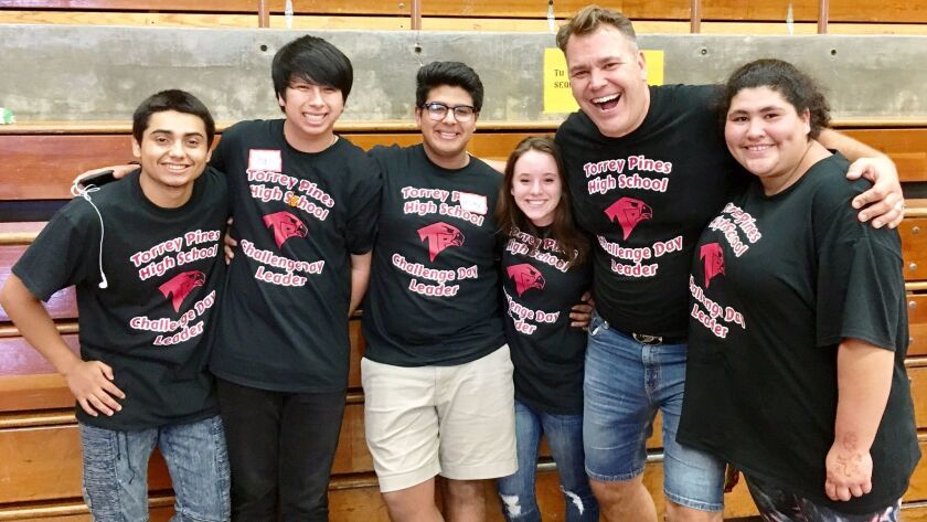 Challenge Day student leaders Fabio, Ricky, Jose and alumni Breana Flahert with Don Collins and Eva.