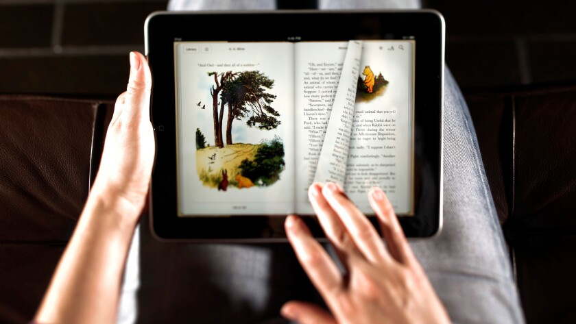 The Apple iPad launched in 2010 with an emphasis on e-book offerings.