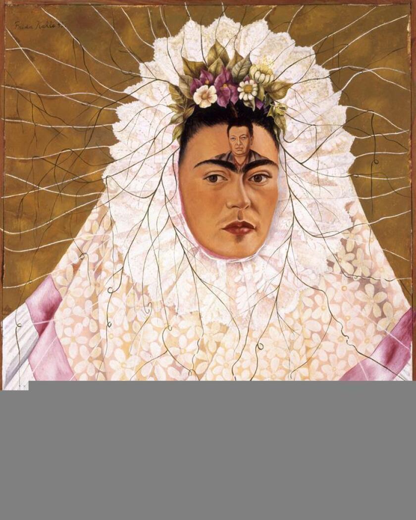 """Fotografía facilitada por el Museo de la Cultura de Milán del autorretrato de Frida Kahlo titulado """"Diego en mi Pensamiento"""" (1943), perteneciente a la colección Jacques y Natasha Gelman, que se puede ver en la exposición """"Frida Kahlo. Más allá del mito"""" en el museo milanés hasta el 3 de junio. EFE/ SOLO USO EDITORIAL"""