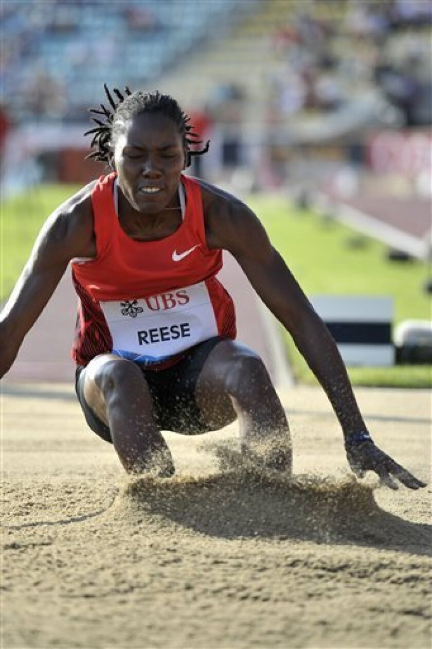 Brittney Reese, from the USA, in action during the long jump event at the Athletissima IAAF Diamond League international athletics meeting in the Stade Olympique de la Pontaise in Lausanne, Switzerland, on Thursday June 30, 2011. (AP Photo/Keystone, Dominic Favre) GERMANY AND AUSTRIA OUT