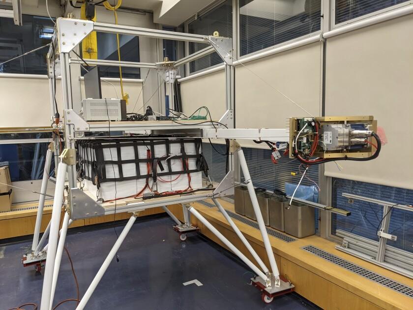 A gondola that will be tested for possible use in releasing sunlight-reflecting aerosols into  Earth's atmosphere.