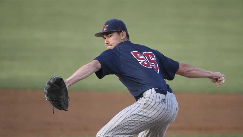 Loyola Marymount's Josh Robins delivers a pitch during a game against San Diego State on April 9.