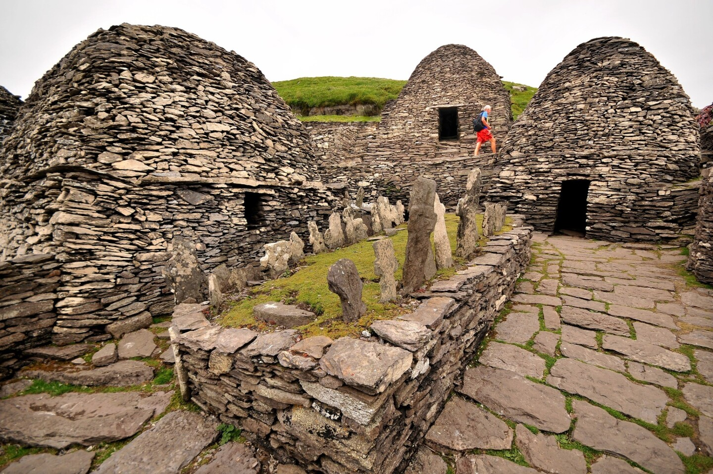 Skellig Michael, an island about 8 miles off the coast, has beehive-shaped structures that were built by Christian monks and date back to the 7th century.